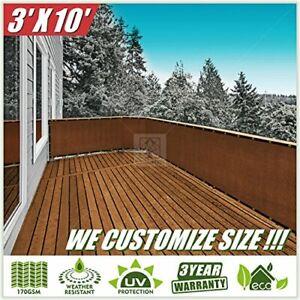 ColourTree 3' x 10' Brown Balcony Railing Shade Fabric ...