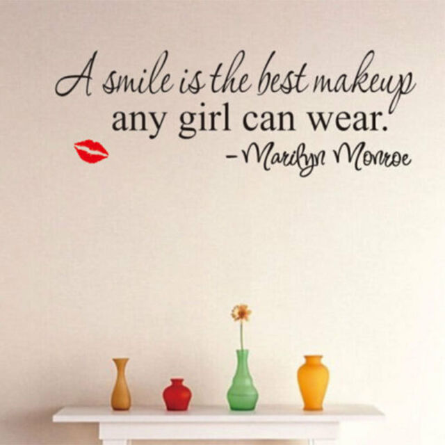 Smile Makeup Marilyn Monroe Quote Wall Stickers Art Fashion Home Decor Decal