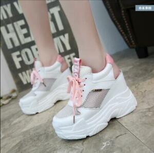 Womens-High-Wedge-Platform-Hollow-Out-Lace-Up-Sneakers-Korean-Style-Sandles-Shoe
