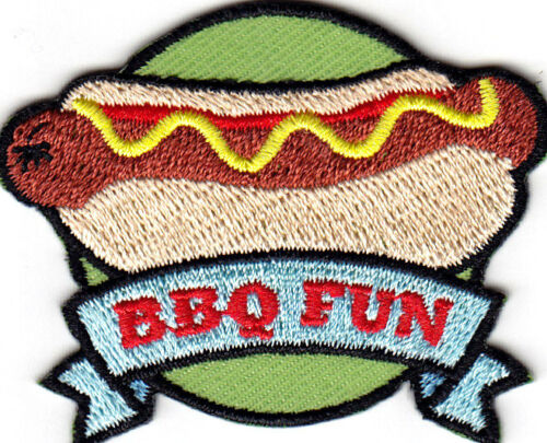 "OUTDOORS IRON ON EMBROIDERED PATCH FOOD- BARBECUE /""BBQ FUN/"" GRILLING"