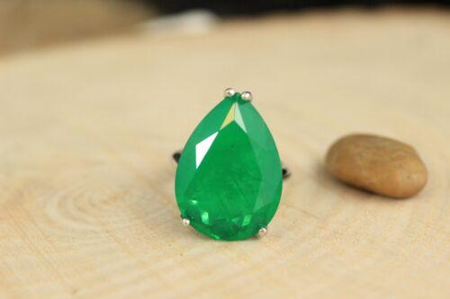 925 Sterling Silver Handmade Turkish Emerald Ladies Ring Size 6-12