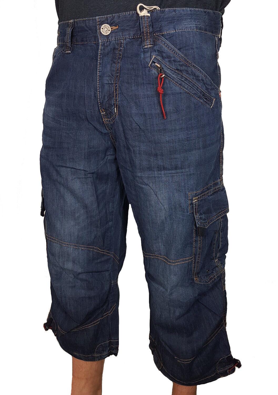 TIMEZONE Cargo Shorts Miles 3 4 Pantaloni Corti Jeans Denim Blu Nuovo w32-40 SHORT