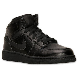 554725-030 Boy s Air Jordan 1 Mid (GS) Black Black New In Box  293e5975181c