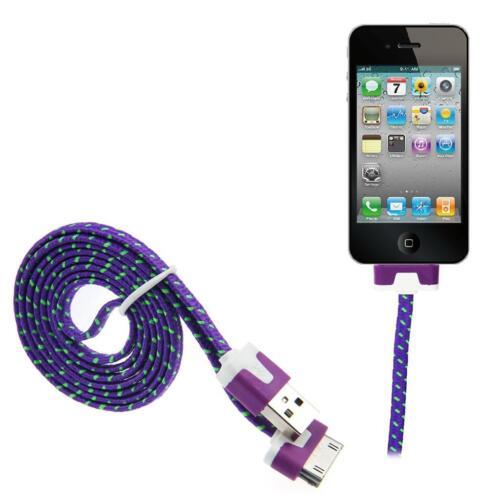 1m 2m 3m fuerte plana Metro Tela Trenzada USB Cable de sincronización de datos para iPhone 4 4S 3GS iPad