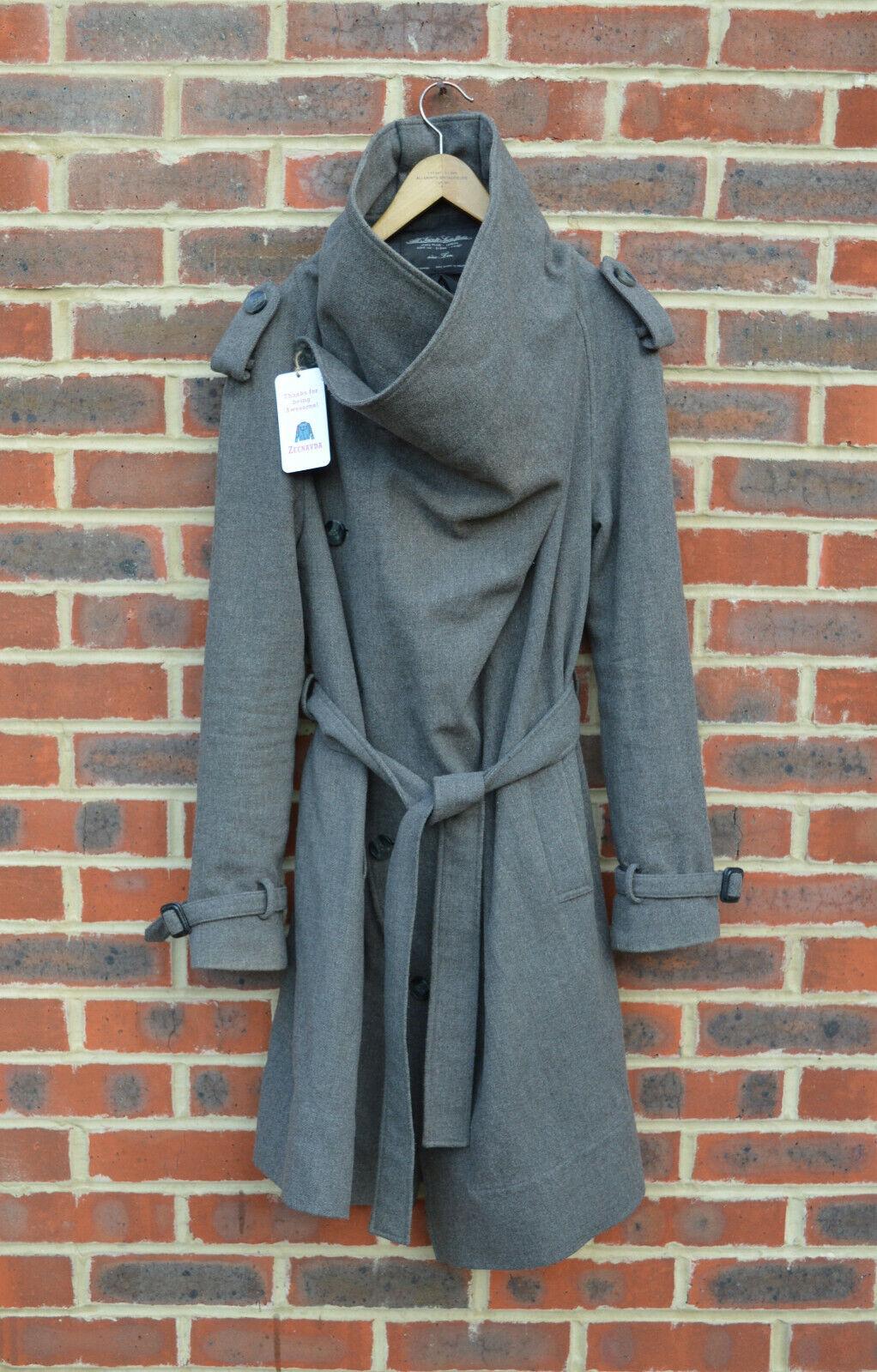 *WOW* AllSaints Ladies NAHARA Woolen Coat UK10-12 US6-8 Trench saredon Grey 2