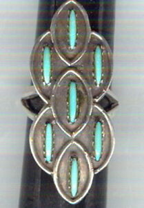 Seven-7-Turquoise-Cabochons-Set-in-Sterling-Silver-Size-5-Ring