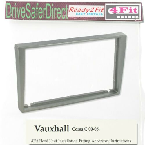 4Fit-8432-01 Matt Silver Double DIN Fascia Frame for Radio//Vauxhall Corsa 00-06