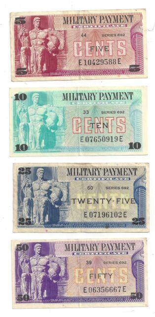 Series 692 US Military Payment Certificates 5c 10c 25c 50c Notes - 04572