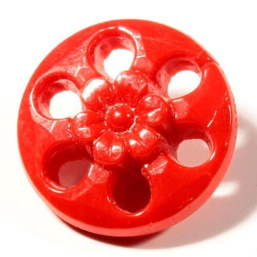 Antique Art Nouveau Czech red pierced faceted flower glass button 18mm
