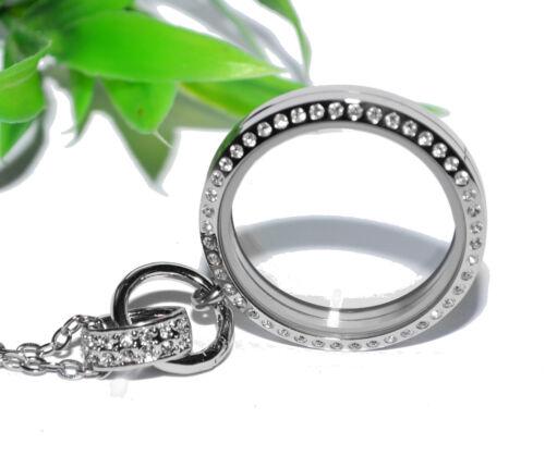 Acero inoxidable floating Charms medallón XL plata pedrería cadena colgante muelle anillo