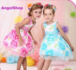 Pink-Or-Aqua-Floral-Girls-Dress-Birthday-Party-Flower-Girl-Dress-Size-2-to-12