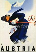 Ski Austria, Vintage Travel Reproduction Rolled Canvas Print 24x32 In