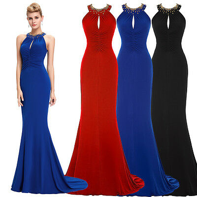 Formal Ball Gown Sexy Halter Bridesmaid Party Evening Long Mermaid Maxi Dress ~