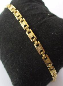 Audacieux Bracelet Bijou Vintage Maillons Gravés Travaillés Couleur Or Rhodié 1569
