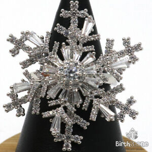 Gorgeous-CZ-Snowflake-Ring-Women-Holiday-Jewelry-Gift-14K-White-Gold-Plated