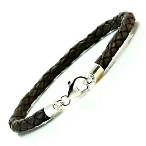 Popular Brand Leather & Sterling Silver Bracelet-genuine 5mm Braided-silver Twist Clasp-grey Jewelry & Watches