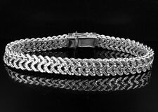 Men's .925 Sterling Silver White Finish Diamond Cut Franco Link Bracelet 10mm 9""