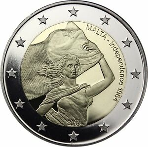 Malta-2-Euro-50-Jahre-Unabhaengigkeit-2014-PP-Gedenkmuenze-im-Etui-mit-Zertifikat