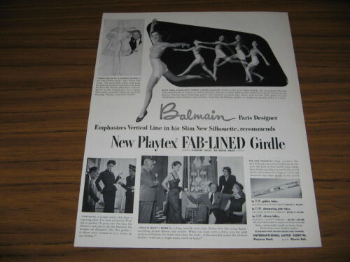 1950 Vintage Ad Playtex FabLined Girdles Ladies Dance in Underwear