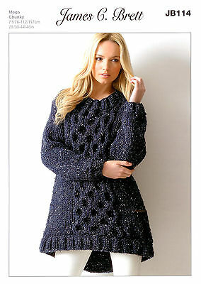 Ladies Tunic JB114 Knitting Pattern James C Brett Rustic Mega Chunky