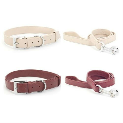 ANCOL INDULGENCE SOFT LEATHER DOG COLLARS /& LEADS TRUFFLE//RED