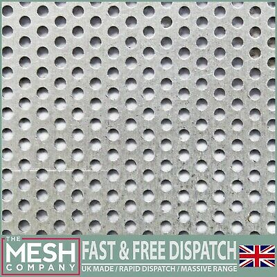 3mm Hole x 5mm Pitch x 1mm Thick Round Perforated Mesh Sheet Plate Mild Steel