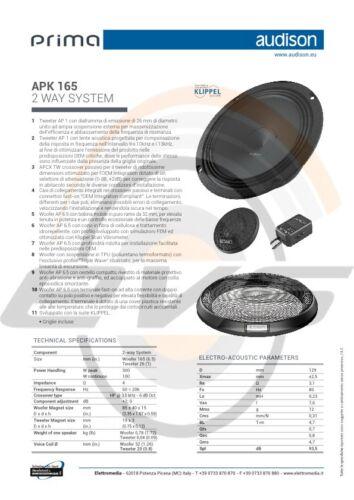 Audison APK 165 4 ohm Kit Casse Altoparlanti 2 Vie 16,5 cm 210W Griglie NUOVO