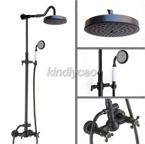 Black Oil Rubbed Brass Exposed Bathroom Rain Shower Faucet Set Mixer Tap Krs707