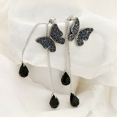 1Pair New Women Rhinestone Butterfly Drop Long Tassel Ear Stud Earrings jep