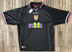 New Nwt Aston Villa 2000 2001 Football Soccer Jersey Black Ntl Diadora Xl 46 48 Ebay