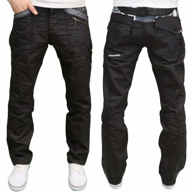 ENZO hommes Designer griffé regular fit noir ceinture arrière jeans enduit,