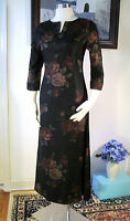 NWT Laura Ashley Black and multi flower mid-calf Dress Size US 4 UK 8 EUR 34