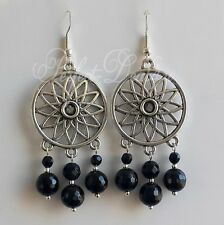 925 Sterling Silver Hook Tibetan Silver Black Onyx  Agate Chandelier Earrings