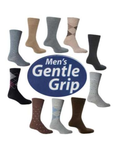 "6 Mens Gentle Grip® /""CLEARANCE STOCK/"" Cotton Non Elastic Socks UK 6-14"