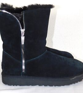 2fc9ddacfa9 Details about STORE DISPLAY WOMENS 10 BLACK UGG 1013165 FLORENCE ZIP UP  SUEDE SHEEPSKIN BOOTS