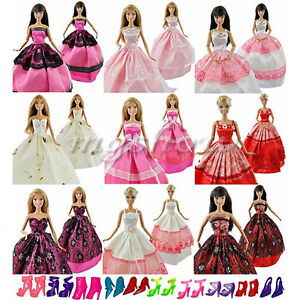 Wedding fashion gown dresses amp clothes 10 shoes for barbie doll uk