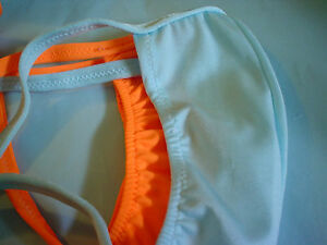 Mens Swimsuit G string Options: Orange or Blue S M L or XL USA Made Custom