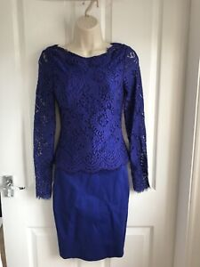 BNWT-Ted-Baker-Vendela-con-Top-in-Pizzo-Blu-Medio-montato-Abito-Matrimonio-TED-Taglia-0-UK-6