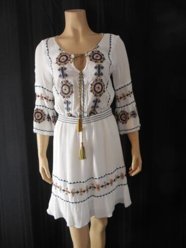 0 2 Violet White Peasant Xsmall Nwt Dress 798510035666 Chelsea Embroidery dwIxgXqq