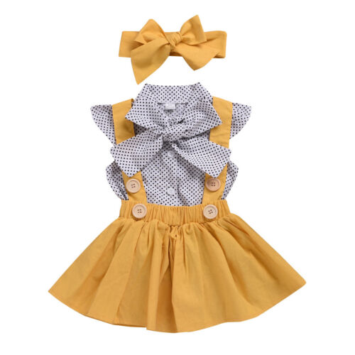 Details about  /Toddler Kids Baby Girl Summer Tops+Suspender Skirt Bow Headwear Outfits Clothes