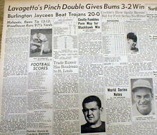 5 1947 newspapers Baseball WORLD SERIES w Brooklyn Dodgers COOKIE LAVAGETTO GAME