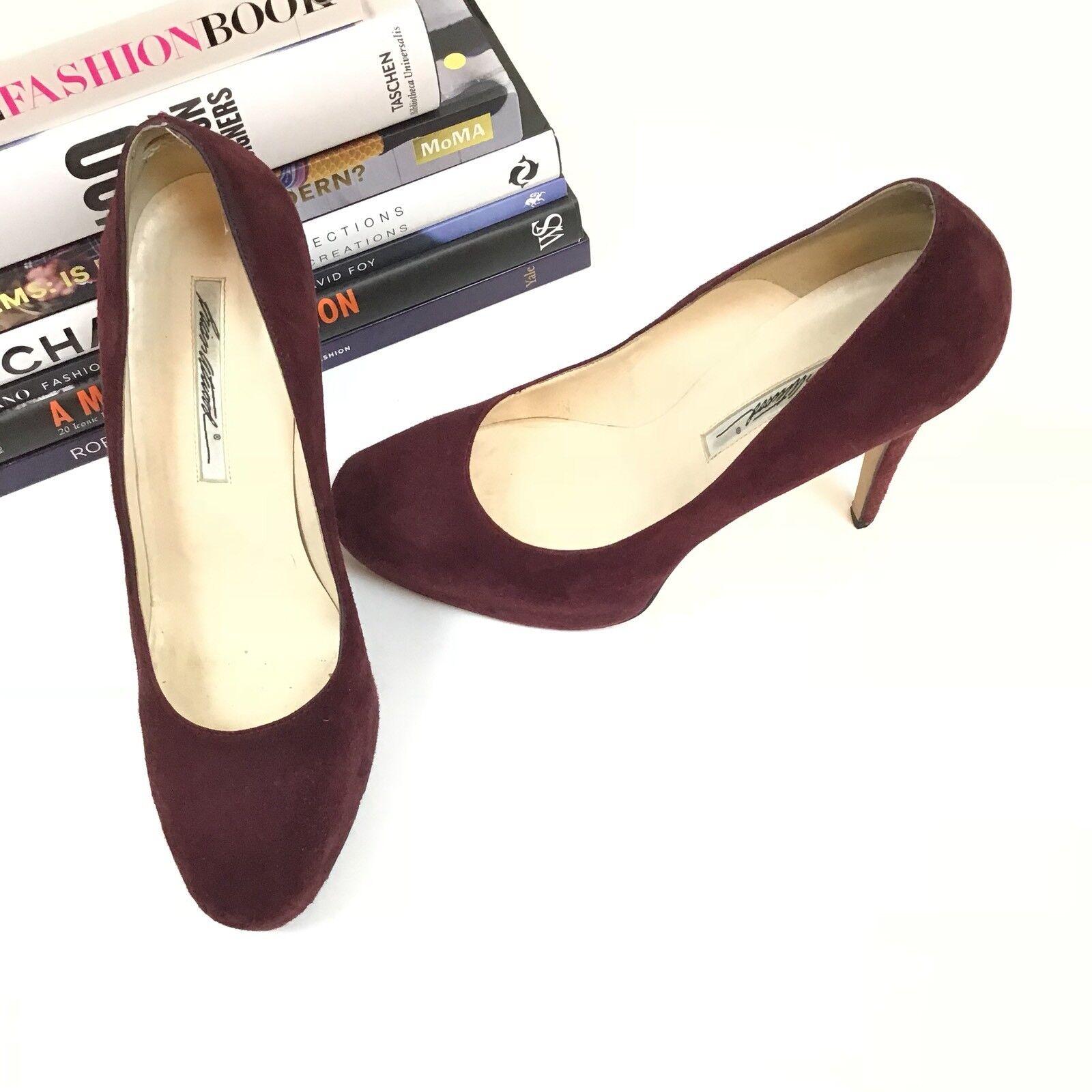Brian Atwood Heels 39 Maroon Wine Red Suede Platform Pumps Women's shoes