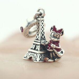 925-Sterling-Silver-Disne-Minnie-Mouse-Eiffel-Tower-Dangle-Fit-European-Charm