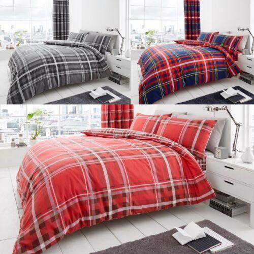Newton Tartan Check Polycotton Printed Duvet Quit Cover Bedding Set All Sizes