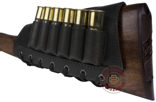 Leather Shotgun Shell Cartridge Buttstock Holder 12 20 Ga Ammo Pouch Cheek Pad