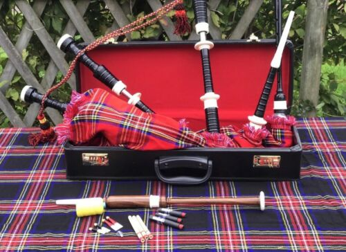 Great Highland Rosewood Bagpipe Full Ivory  Amounts With Hard Case Tutor Book