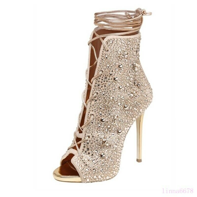 Roman Women's Mid-Calf Boots Shoes Open Toe Rhinestone High Stiletto Heel Party