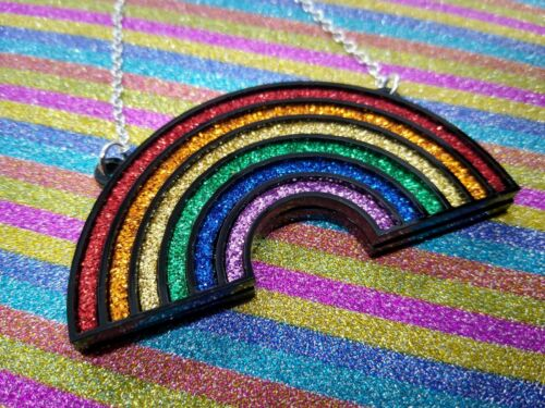 Rainbow necklace Laser Cut Acrylic Necklace glitter LGBT pride necklace