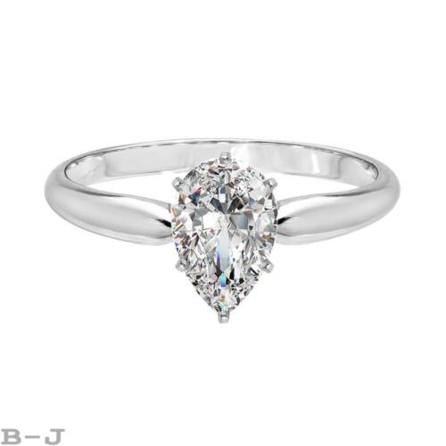 Engagement Ring Solitaire 14K solid White Gold 1.25 Ct Pear Shape Diamond Cut