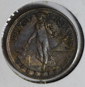 Philippines-1945-50-Centavos-silver-luster-underneath-toning-UNC-P0263-combine-s